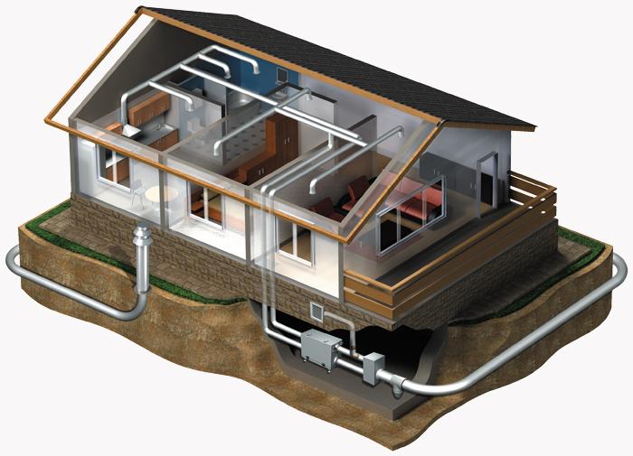 installation scheme of geo vents in buildings with basement floor