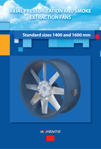 """Axial pressurization and smoke extraction fans. Standard sizes 1400 and 1600 mm"" catalog 2020"